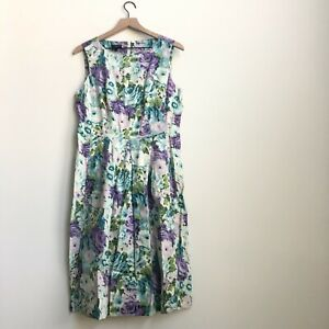 Talbots Floral Sleeveless Pleated Cotton Dress Size 10 Lined Purple Green Flower