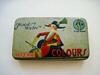 """Colorful Vintage Tin w/ Woman Beating A Drum """"Moist Water Colours"""" - Japan*"""
