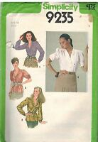 9235 Vintage Simplicity Sewing Pattern Misses Button Front Blouse Gathered OOP