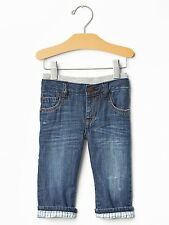 """GAP Baby Boy 3-6 Months """"Playdate Straight"""" Lined Pull-On Distressed Jeans Pants"""