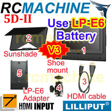 "Lilliput 7""5D-II HDMI In LP-E6 adapter Camera Monitor Canon 5D2+shoe stand+cable"