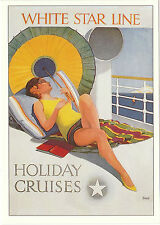 ROBERT  OPIE  ADVERTISING  POSTCARD  -  WHITE  STAR  LINE  -  HOLIDAY  CRUISES