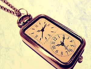 Vintage Double Clock Necklace, Alice in Wonderland Pocket Watch Jewellery, Gift