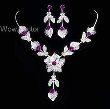 Rosa Púrpura Collar y pendientes de diamantes de imitación de cristal conjunto De Dama De Honor Nupcial
