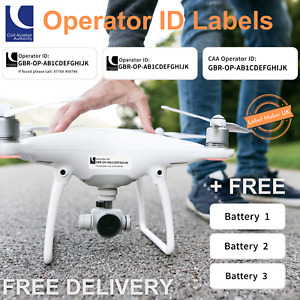 Drone Operator ID Labels (New Format) - CAA Regulatory ID Stickers (Set of 6)