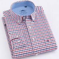 New Mens Shirts Long Sleeve Cotton Casual Slim Smart Formal Check Classic XT437