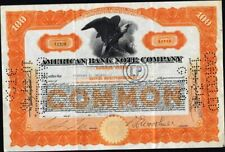 American Bank Note Co Of New York, 1925, American Bank Note Co, Cancelled Stock