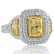 3.48 ct Emerald Yellow Canary & Dual Halo Simulated Diamond Women's Ring Silver