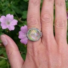 Faux Opal Cabochon Ring Adjustable Free One Size Sizeable Silver Plated Resin