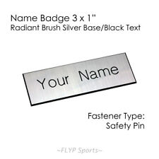 """Name Badge Tag Plate Radiant Silver/Black Safety Pin 3x1"""" Personalised Engrav."""