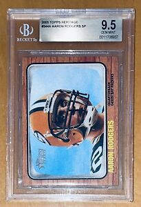 🔥Aaron Rodgers 2005 Topps HERITAGE SP ROOKIE RC #344A BGS 9.5 PSA MVP RED 🔥HOT