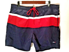 St. John's Bay Men's Swim Trunks Red White Blue Lined Front Pockets Size Large