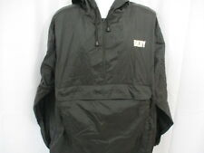 DKNY Lightweight 100% Nylon Pullover with Hood, Black, Large, Water Resistant