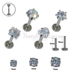 2x Round Star Cartilage Upper Ear Nose Heart Lip Ring Labret Stud Helix Piercing