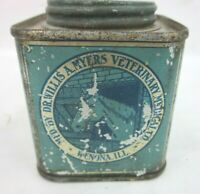 VINTAGE DR WILLIS MYERS VETERINARY CO HOOF OINTMENT OIL TIN HORSE Barn WENONA IL