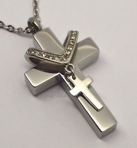 Cremation Urn Necklace - Keepsake Pendant for Ashes - Twin Block Cross