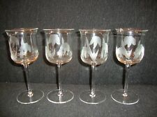 Antique 4 Stemware Etched Glass Hand Blown Goblets Crystal Clear