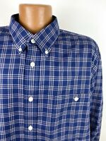 Orvis Wrinkle-Free Plaid Shirt Men's 2XL Navy Blue Long Sleeve Button Down