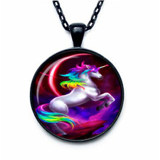 Fashion Round Unicorn Pendant Unicorn Necklace Unicorn Jewelry Style Art Gift