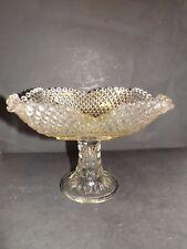 L E Smith Glass Large Diamond Point Circles Fruit Centerpiece Compote Dish Bowl