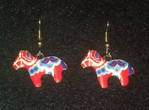 DALA HORSE Earrings Stainless Hook New RED Holiday Swedish Tradition Sweden Jule