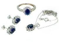 4.56ct Saphir & Diamant Halskette, Ohrringe, Ring Im Set 18k & 14k Weiss Gold