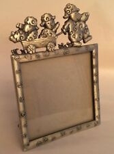 """Baby Child Photo Picture Frame Pewter Finish Lamb Decorated 3 3/4"""" sq photo"""