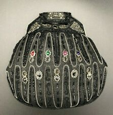 Vintage Hashimoto Evening Bag Purse Beaded Glass Gemstones Black Silver Formal