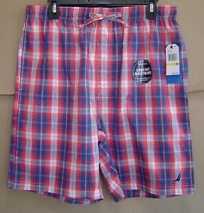 NWT $34 NAUTICA Mens M SAILOR RED PLAID Woven Sleep Shorts Cotton Pajamas