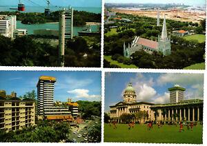SINGAPORE four 1960s colour picture postcards mint as when bought