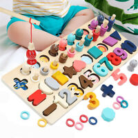 Montessori Wooden Toys Digital Matching Fishing Board Math Toy Gift Kid Children