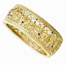 "Jackie Kennedy Gold-Plated Swarovski Elements 7"" Burmese Bangle Bracelets"