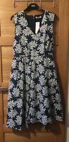 Ladies M&S Per Una Size 16 Textured Leaf V Neck Pocket Dress BNWT RRP £65.00