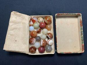 Antique Marbles in Jobber Box MFC Brick Agate Bullseye & Carnelian & Other Rare!