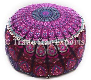 Indian Mandala Ottoman Pouf Boho Round Pouffe Ethnic Cotton Floor Bean Bag Cover