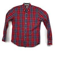 J Crew Mens Red Plaid Long Sleeve Button Up Cotton Shirt Sz Medium