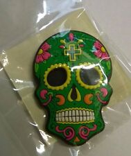 Candy Skull Day of the Dead Mexican Fridge Magnet Green