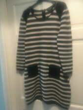 AUTOGRAPH LADIES DRESS STONE/BLACK STRIPE WOOL/FAUX LEATHER UK 14