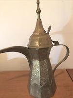 "Heavy VTG Ornate Brass Metal Turkish Style Tea Pot Pitcher Hinged Lid-13"" Tall"
