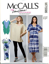 MCCALL'S SEWING PATTERN 7596 MISSES 4-14 KIMONO DRESS MAXI TUNIC, COLD SHOULDER