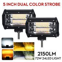 Pair 5 In 72W LED Work Light Bar Strobe Flash Lamp White & Amber Offroad SUV ATV