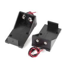 2 pezzi in Plastica nera 9V Cells Battery Holder Caso Box w cavi cablati D0K1