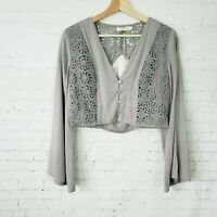 Makers Of Dreams Boutique Boho Top Size S Bell Sleeve Crop Lace Nasty Gal New