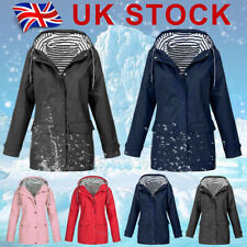 Plus Size Womens Waterproof Raincoat Wind Outdoor Jacket Forest Coat Rain Mac