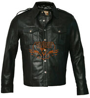 Leather Jacket Mens Genuine Real Black Police Uniform Shirt Full Sleeves Sizes