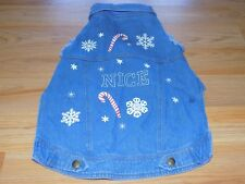 Size Medium Holiday Themed NICE Denim Blue Jean Jacket for Pet Dog NWOT