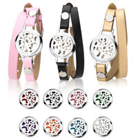 316L Steel Aromatherapy Bangle Essential Oil Locket Diffuser Bracelet 8 Pads NEW