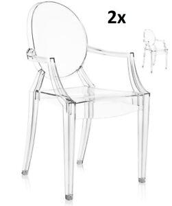 Stuhl 2er Pack mit Armlehnen inspiriert Louis Ghost Glasklar Schminktisch NEU