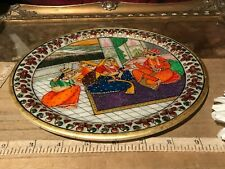 """Indian Hand Painted Marble Decorative Plate with Raised Floral & Crystals 9"""""""
