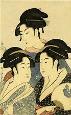 """Meiji era UTAMARO Japanese woodblock reprint """"THREE BEAUTIES OF THE PRESENT DAY"""""""